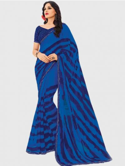 Marble Chiffon Fancy Saree-Blue-CFS6216