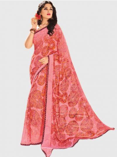 Marble Chiffon Fancy Saree-Pink-CFS6217