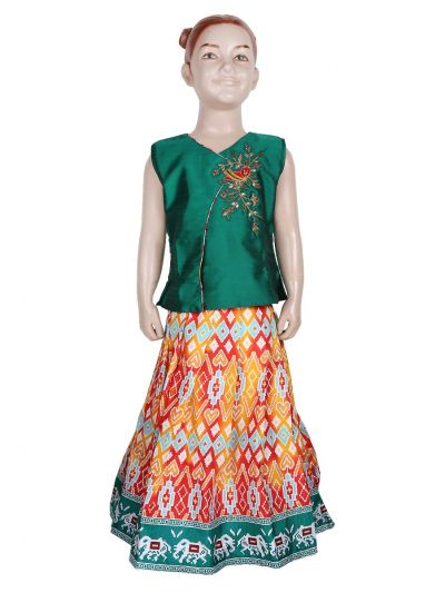 Girls Ready Made Art Silk Pavadai Set - GPP642