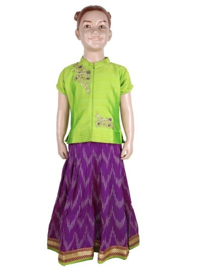 Girls Ready Made Art Silk Pavadai Set - GPP660