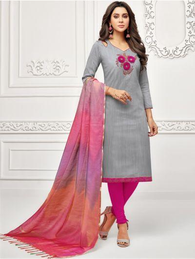 Isabella Women's Long Slub South Dress Material-LSDM7012
