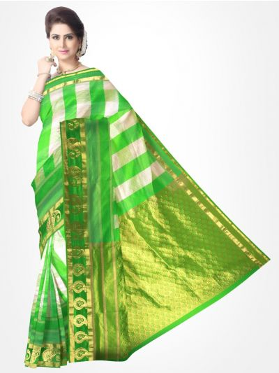 Traditional Silk Saree White and Green