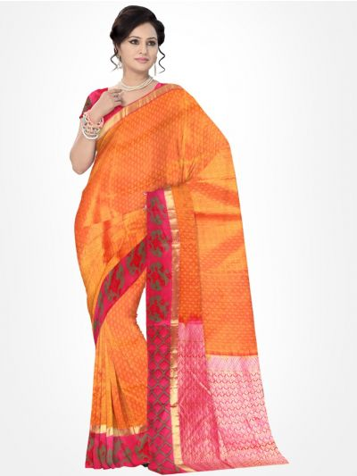 Traditional Silk Saree Orange