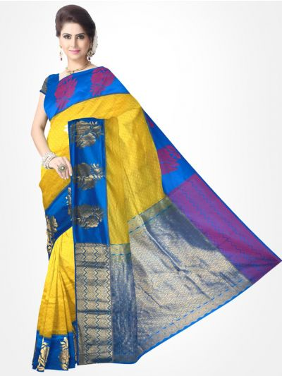 Traditional Silk Saree Yellow with Blue - MTSS708