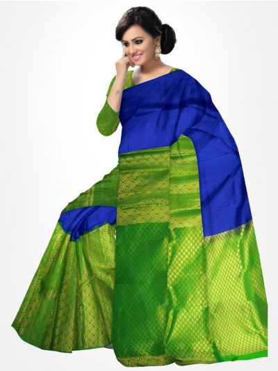 Traditional Silk Saree Blue with Green - MTSS709