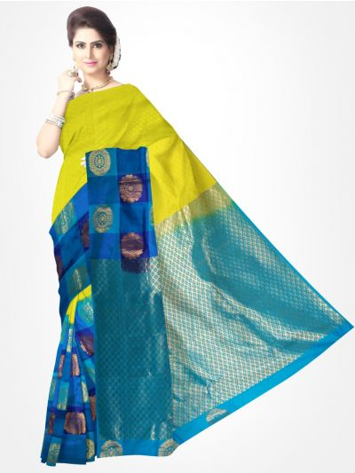 Traditional Silk Saree Blue with LightGreen - MTSS710