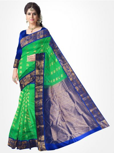 Traditional Silk Saree Blue with Green