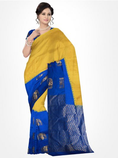 Traditional Silk Saree Blue with Yellow