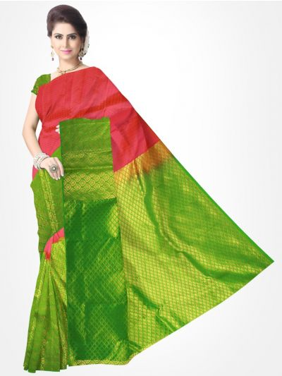 Traditional Silk Saree Coral with Green