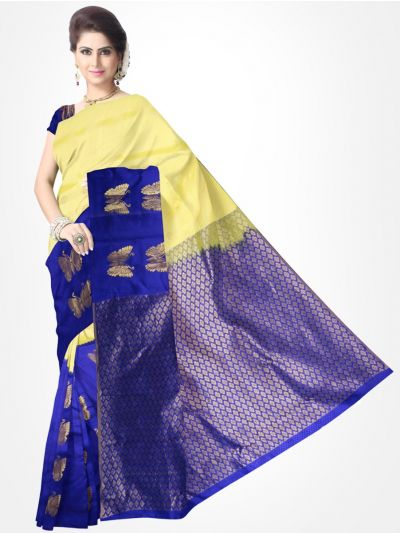 Traditional Silk Saree Cream With Blue