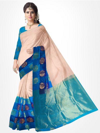 Traditional Silk Saree Cream With Blue - MTSS715