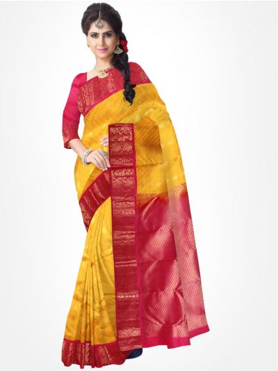 Traditional Silk Saree Yellow with Pink - MTSS716