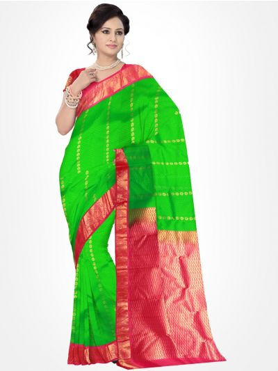 Traditional Silk Saree Green with Pink