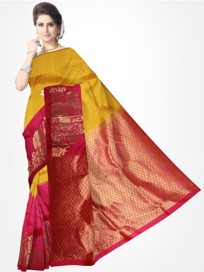 Traditional Silk Saree Yellow with Pink - MTSS718