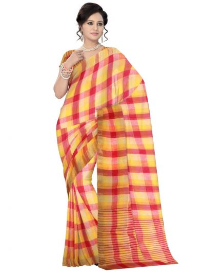 Multicolor Linen Cotton Saree