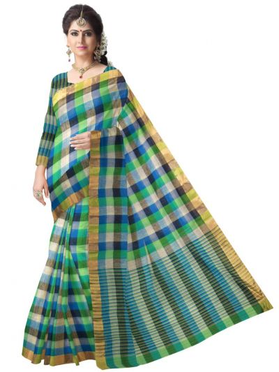 Multicolor Linen Cotton Saree