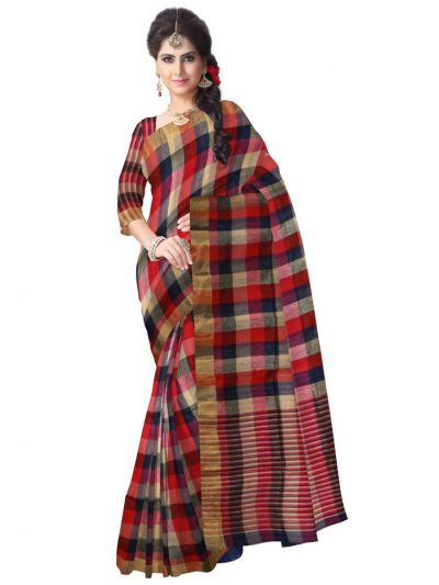Multicolor Linen Cotton Saree - LCS831