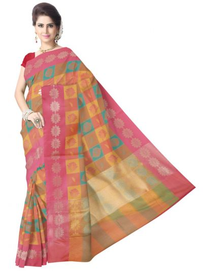 Fancy Kora Weaving Saree - Multi - FKC850