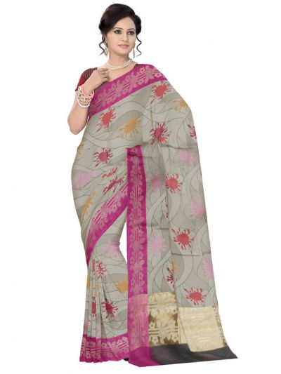 Fancy Kora Weaving Saree - Grey - FKC851