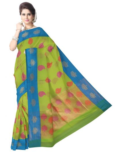 Fancy Kora Weaving Saree - Green - FKC853
