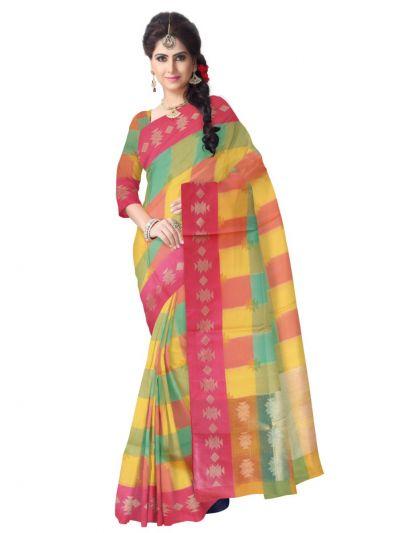 Fancy Kora Weaving Saree - Multi - FKC854