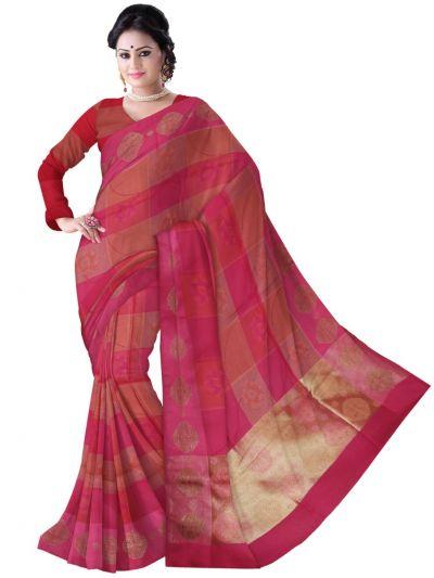 Fancy Kora Weaving Saree - Multi - FKC855
