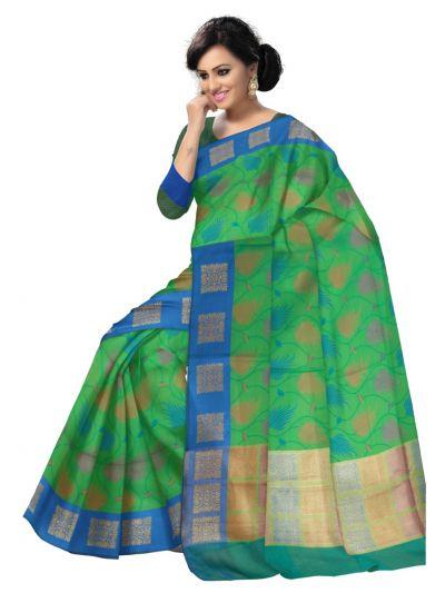Fancy Kora Weaving Saree - Green - FKC856