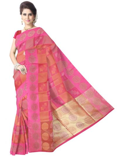 Fancy Kora Weaving Saree - Multi - FKC857