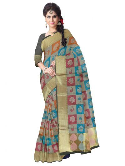 707b28aa8dc422 Fancy Kora Weaving Saree - Grey - FKC858