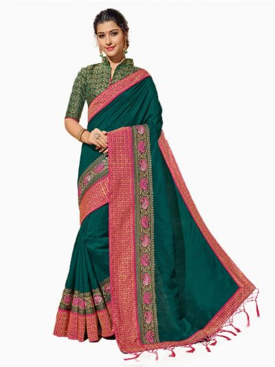 Party wear Sana Silk Green Saree - PWSS8651