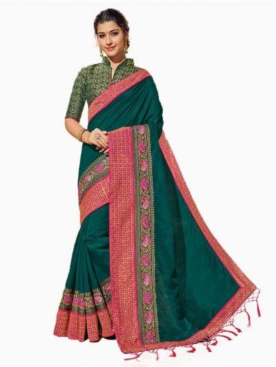Party wear Sana Silk Green Saree - PWSS8651