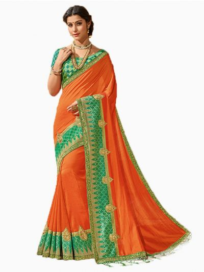 Party wear Sana Silk Orange Saree - PWSS8658