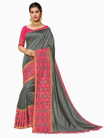 Party wear Sana Silk Grey Saree - PWSS8659