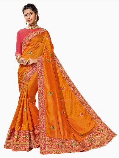 Party wear Sana Silk Orange Saree - PWSS8665