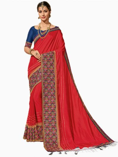 Party wear Sana Silk Red Saree - PWSS8669