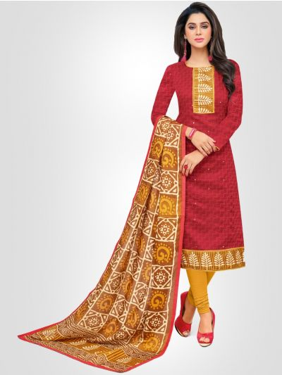 Ganga Cotton Red and Yellow Dress Material