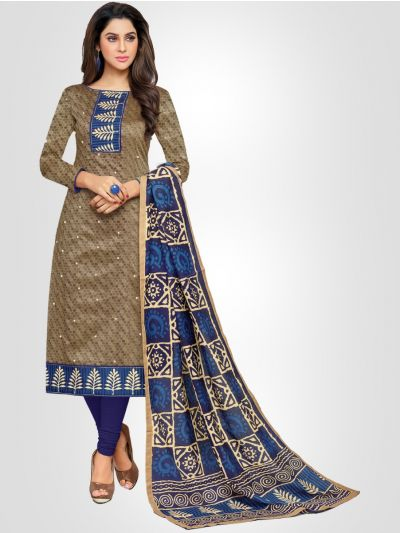 Ganga Cotton Grey and Blue Dress Material