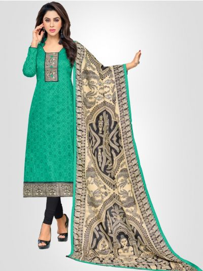 Ganga Cotton Green and Grey Dress Material