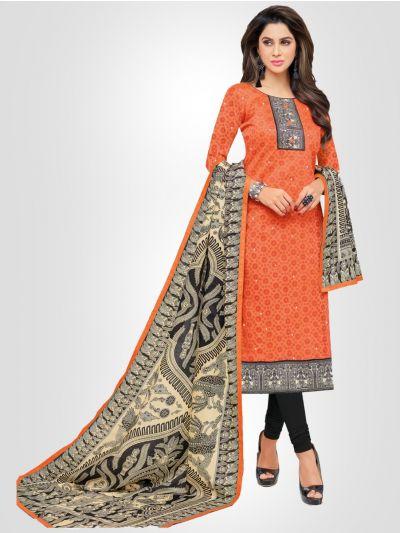 Ganga Cotton Orange and Grey Dress Material