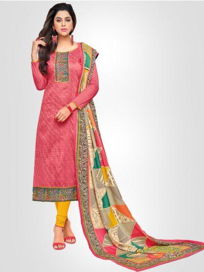 Ganga Cotton Pink and Yellow Dress Material