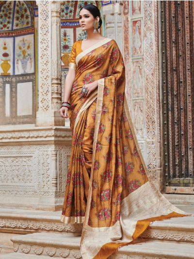 Kyathi Moonga Silk Digital Print With Zari Border Saree