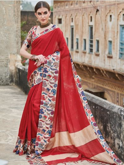Kyathi Moonga Silk Digital Print With Satin Border Saree-MAE3892727