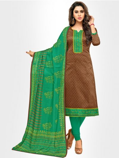 Ganga Cotton Dress Material - Brown - GCDM9008