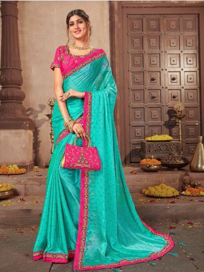 Kathana Cotonic Chiffon Patch work Fancy Saree