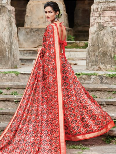 Kathana Chanderi Printed With Zari Border Fancy Saree