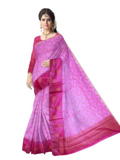 Tussar Pink  Silk Saree