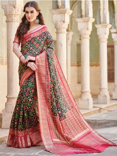 Kyathi Moonga Silk Printed With Zari Border Saree-MAD3656805