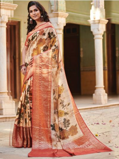 Kyathi Moonga Silk Printed With Zari Border Saree