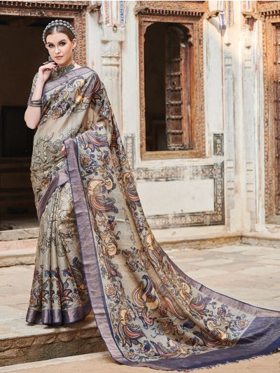Kyathi Tussar Silk Printed With Zari Border Saree