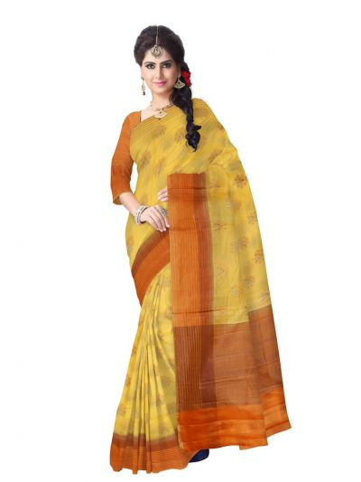 Tussar Yellow Silk Saree
